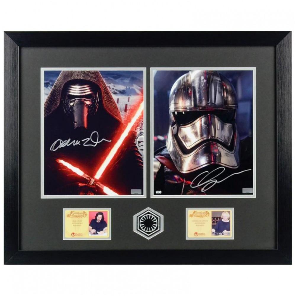 Photos Autographiées et Encadrées d'Adam Driver et Gwendoline Christie du film Star Wars Le Réveil de la Force