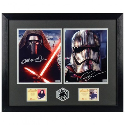 Adam Driver and Gwendoline Christie Autographed Star Wars The Force Awakens Framed Photos