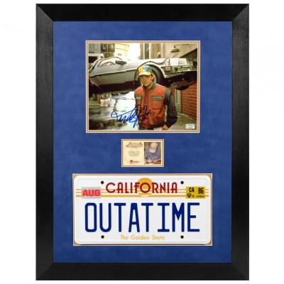 Michael J. Fox Autographed Back to the Future Marty McFly With OUTATIME License Plate Framed Photo